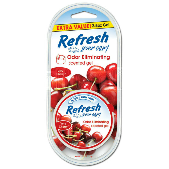 Refresh Very Cherry Odour Eliminating Scented Gel Can Car Van Home Air Freshener