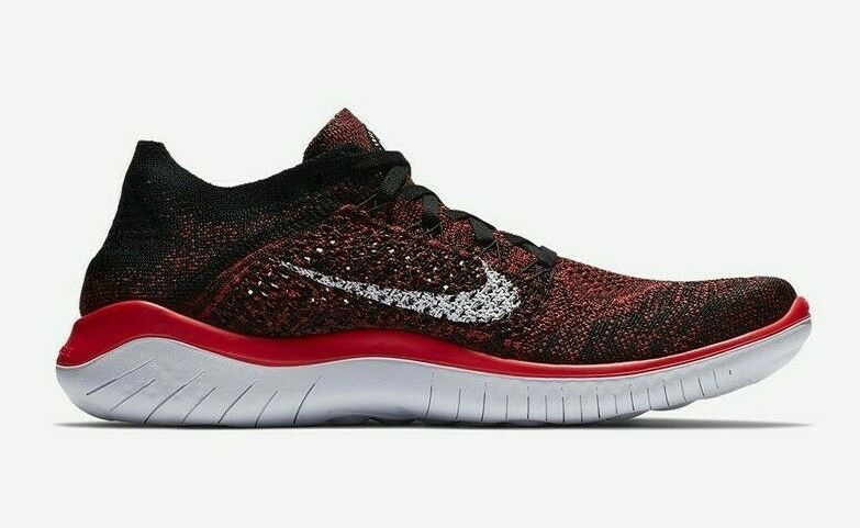 Nike Men's Free RN Flyknit 2018 - Bright Crimson White Black (942838-602)