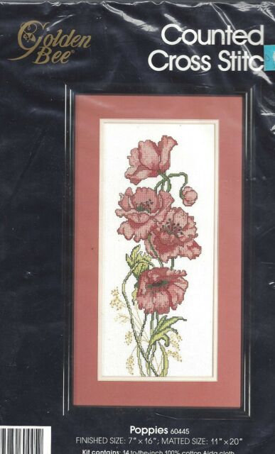 POPPIES ~ COUNTED CROSS STITCH KIT ~ GOLDEN BEE - CANDAMAR DESIGNS