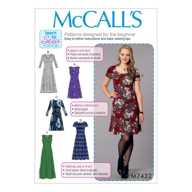 McCalls Sewing Pattern M7432 Misses Knit Dresses With V Crew or ...