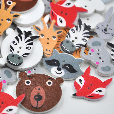 10/50/100pcs Mix Lots Animal Christmas Kid's Wood Buttons  Sewing Gift Crafts