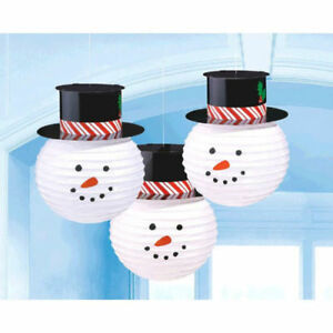 3-Snowman-Paper-Lanterns-with-Hat-Hanging-Decoration-CHRISTMAS-Winter-Snow-Party