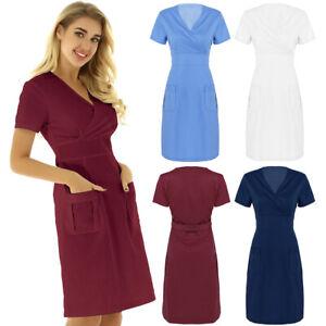 Women's Hospital Nurse Scrub Uniform Dress V Neck Short Sleeve Mock Wrap Coat