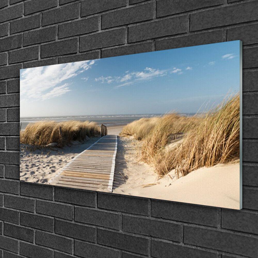 Image sur verre acrylique Tableau Impression 100x50 Paysage Plage Chemin