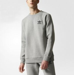 Details about New Adidas Essentials Fleece Crew Sweater shirts Grey Long Sleeve Tshirt BR4210