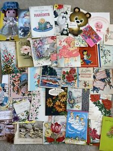 Vintage Greeting Cards Lot- 1940s And Up. 35 Cards- Ephemera- Mixed Lot- G