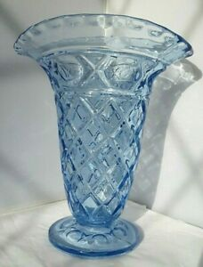 "Pottery & Glass Glass Steady Libochovice?~bohemian~czech~vintage~blue~art Glass~vase~10""h~home Decor~gift!"