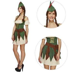 Adulto-Donna-FEBBRE-ROBIN-HOOD-FUORILEGGE-Archer-Lady-Marion-Elf-Costume