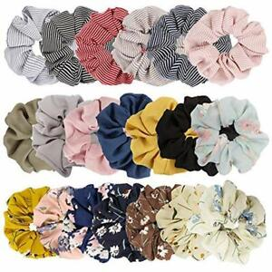 20-Elastics-amp-Ties-Pack-Women-039-s-Large-Chiffon-Hair-Scrunchies-Bow-Ponytail-Favor