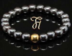 Haematit-925er-sterling-Silber-vergoldet-Armband-Bracelet-Perlenarmband-8mm