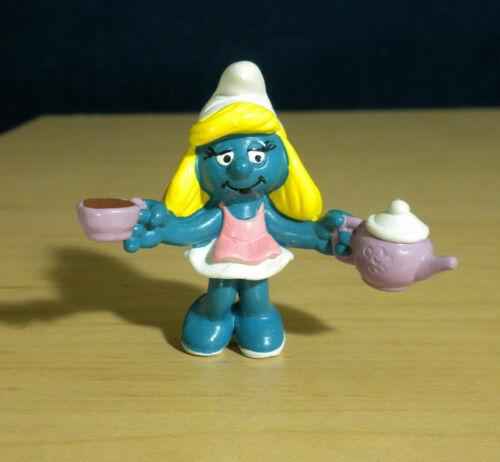 Smurfette Tea Party Smurf Coffee Mug Smurfs Cup Vintage Figure PVC Toy Figurine
