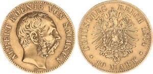 10 Marco Oro 1874 E Sajonia, Albert, Muy Raro Año VF XF (2)