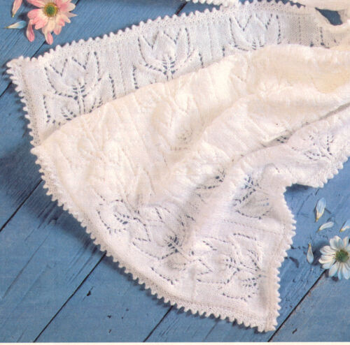 """20/"""" To Knit Baby Tulip Blanket 29/"""" x 28/"""" /& Sweater with Knitted Picot Edge 12/"""""""