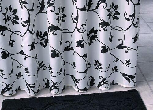 Tessuto Tenda Doccia Nera Nera Nera Bianco 180 x 200 cm Barocco Divisorio afd951