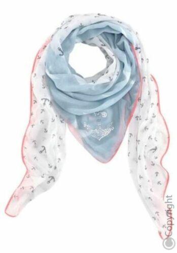 Stylisches Tuch Großer Anker aus Pailletten Prints kleine Anker große Sterne