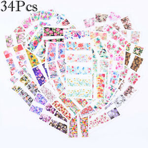 Details about 34Pcs Nail Water Transfer Stickers Flower Decals Nail Art  Decoration 5 3*6 4cm