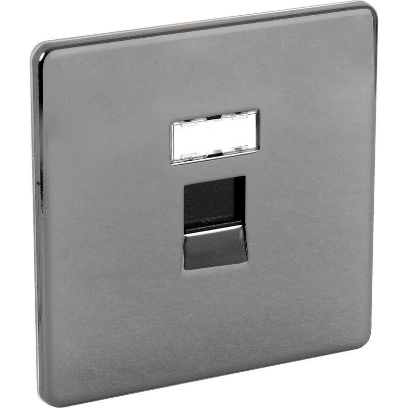 Nouveau screwless plaque plane noir nickle outlet outlet outlet 1 gang RJ45 diy 46cce6
