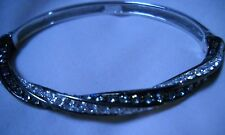 Nolan Miller Twisted Bangle Bracelet - Gray & Clear Crystals - EUC!