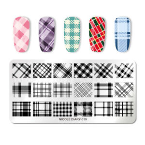 NICOLE-DIARY-Nail-Stamping-Plates-Stainless-Steel-Lattice-Rectangle-DIY-Nail-Art