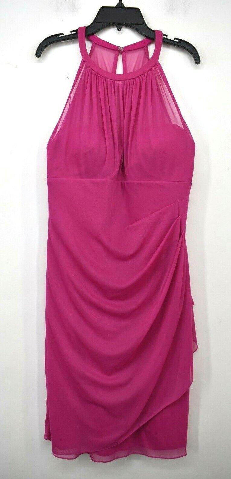 David's Bridal Womens Side Cascade Short Plum High Neck Bridesmaid Dress 10