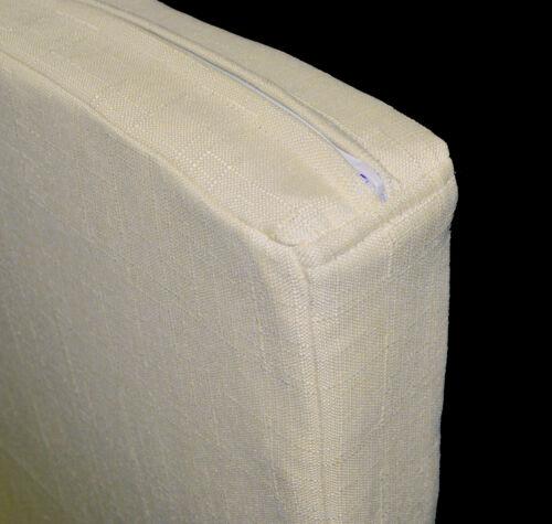 Qh07t Dim Beige Plain Thick Cotton Blend 3D Box Sofa Seat Cushion Cover Custom