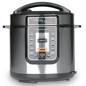 Healthy Choice 6L Electric Slow/Pressure Cooker 1000W LED Display/Non Stick Pot