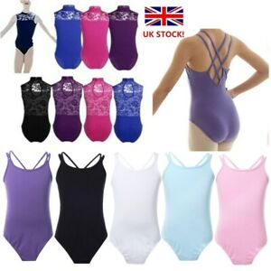 UK-Toddler-Girls-Ballet-Dance-Leotard-Dress-Gymnastics-Kids-Lace-Back-Dancewear