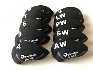10PCS-Golf-Iron-Covers-for-Taylormade-M4-Club-Headcovers-Caps-4-LW-Black-amp-Black
