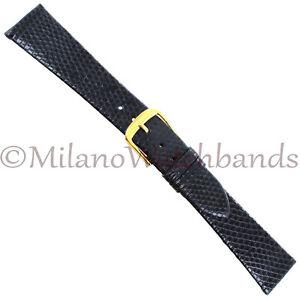 19mm-Speidel-Black-Unstitched-Genuine-Lizard-West-Germany-Tapered-Mens-Band-Reg