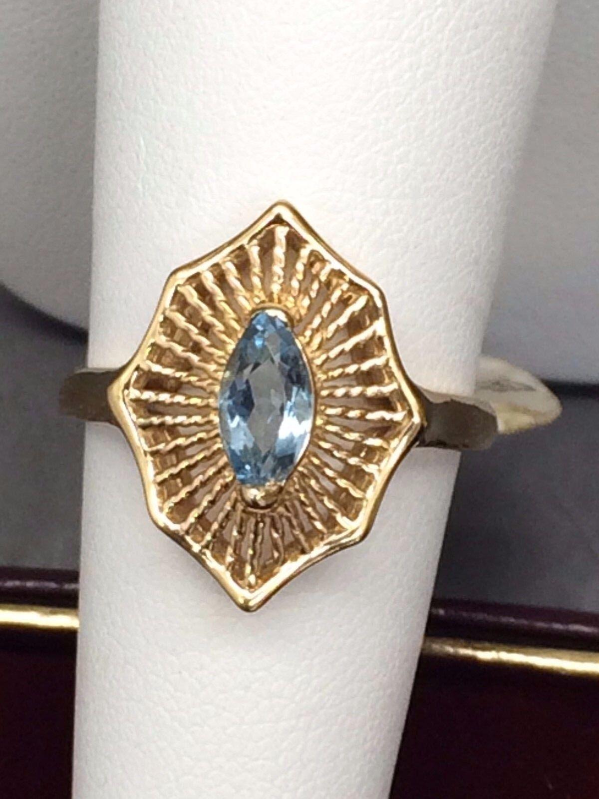 March Birthstone  Aquamarine Ring (14k)