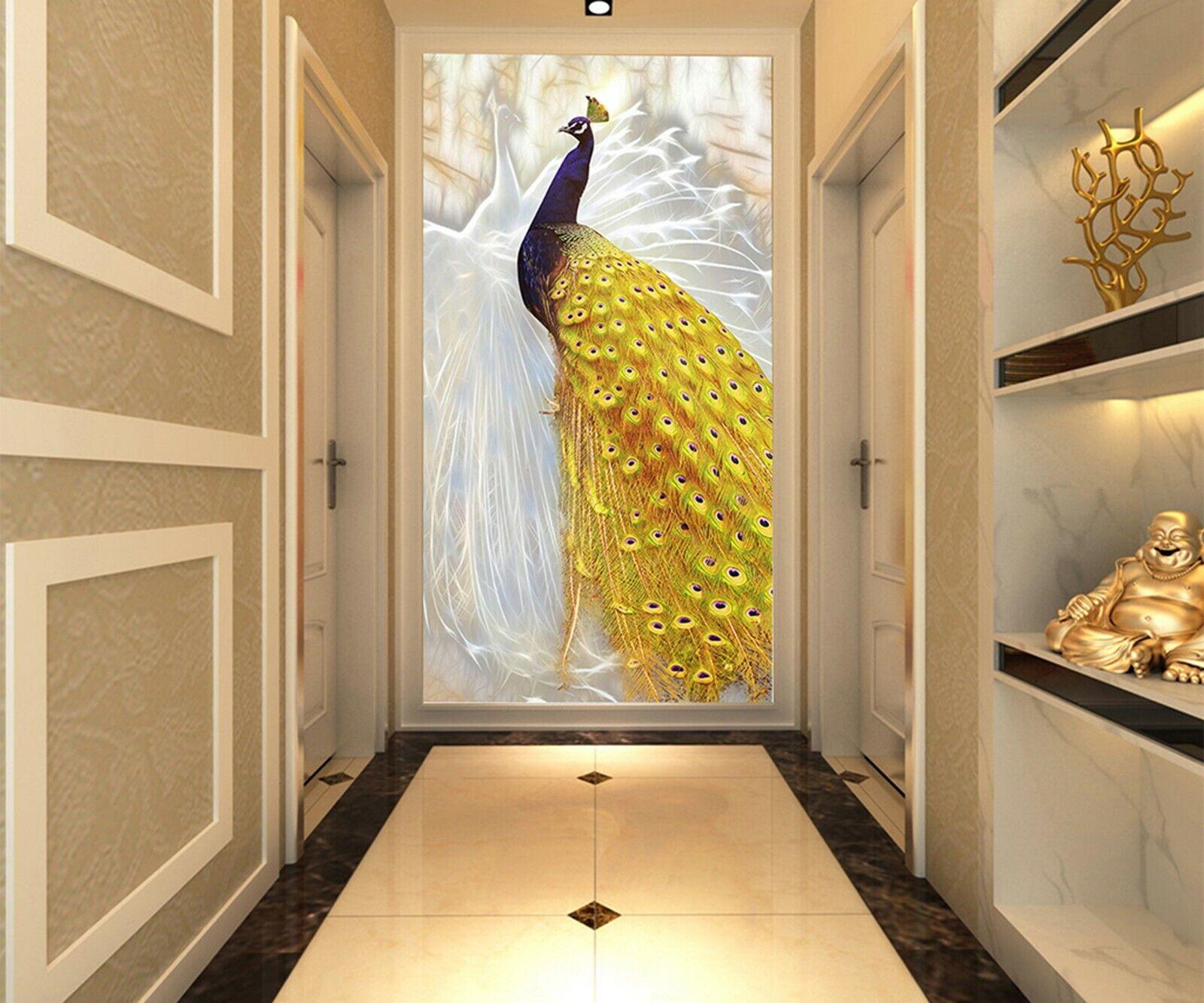 3D Goldener Pfau H014 Tapete Wandbild Selbstklebend Abnehmbare Aufkleber Kids We