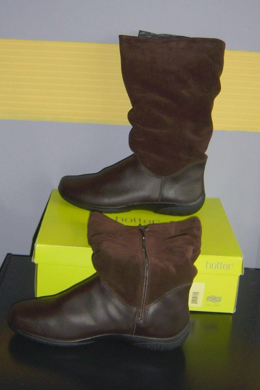 Señoras Más Caliente Marrón Cuero Y Gamuza botas Exf Nuevo En Caja