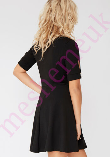 Womens Short Sleeve Skater Dress with Metal Detail Size 8-16 Ladies Dress
