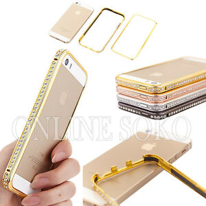 For-Apple-iphone-4-5s-6-Bling-Diamond-Crystal-Aluminium-Metal-Bumper-Case-cover
