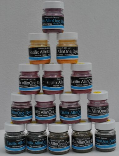 Easyfix All in One Acid Dyes 10 x 10g Pots Nylon Dyes Silk Wool Feathers