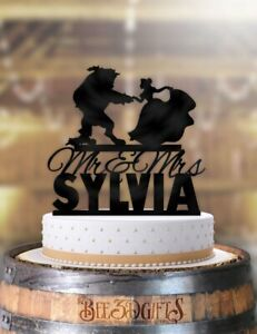 Personalized-Beauty-and-the-Beast-Dance-Curtsey-with-Rose-Mr-Mrs-with-Name-Cake