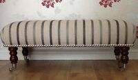 A Quality Long Footstool In Laura Ashley Luxford Stripe Charcoal Fabric