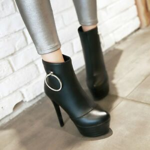 Womens-Platform-Slim-High-Heels-Back-Zip-Ankle-Boots-Ring-Round-Toe-Solid-Shoes