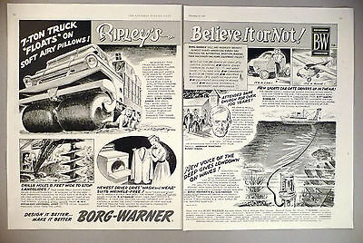 1950-59 1957 ~~ Ripley's Believe It Or Not Collectibles Useful Borg-warner 2-page Print Ad