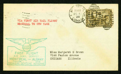 1928 FIRST FLIGHT FAM 1-3 MONTREAL TO ALBANY - CANADA C1 FRANKING (ESP#2139)