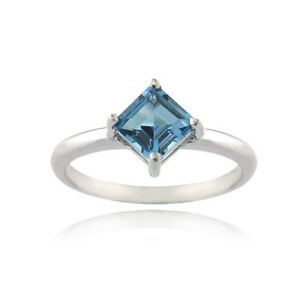 925 Silver 3.4ct Emerald-Cut Blue Topaz /& Diamond Accent Ring
