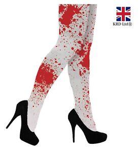 Halloween-White-BLOOD-STAINED-TIGHTS-Bloody-Zombie-Nurse-Fancy-Dress-School-UK