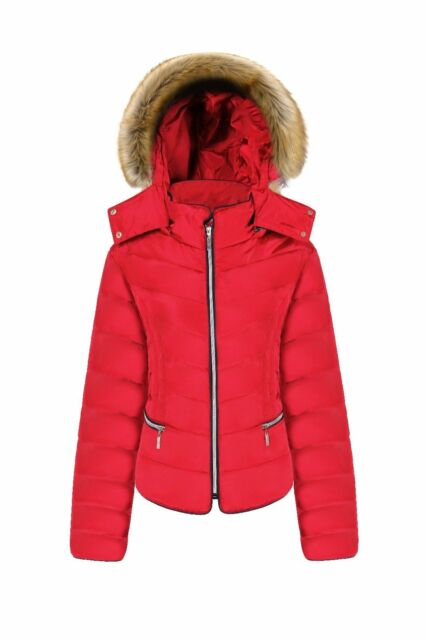 7db31ec03 Womens Ladies Plus Size Quilted Padded Bubble Puffer Jacket Fur Hood Puffa  Coat