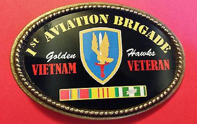 "NEW Vietnam Veteran 1st AVIATION BRIGADE /""Golden Hawks/"" Epoxy Belt Buckle"