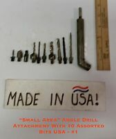 """""""small Area"""" Angle Drill Attachment W/10 Assorted Bits Usa 1-use Any Hand Drill"""