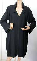 Samuel Dong Black Zipper Front Gathered Collar Stretch Duster Coat L