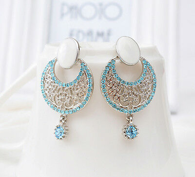 Non-Pierced Moon Shaped Turquoise Blue Crystal Drop Diamante CLIP ON Earrings