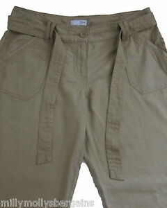 New-Womens-Beige-Linen-NEXT-Trousers-Size-12-10-8-Long-Petite