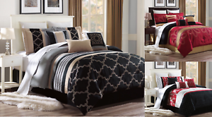 NEW-BED-COLLECTION-3PC-EMBROIDERY-DUVET-COMFORTER-BED-COVER-SET-W-PILLOW-SHAMS