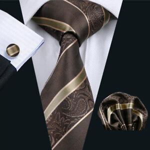 d1629840d6df Silk Gold Brown Men Tie Set with Pocket Square And Cufflinks Men ...